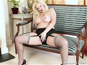 bootylicious platinum-blonde milks in grey nylons and high high-heeled slippers