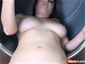 Karlee Grey sucks and gets nailed in the washing machine