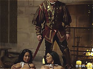 Alluring Anissa Kate and Jasmine Jae serve the king's will and prick